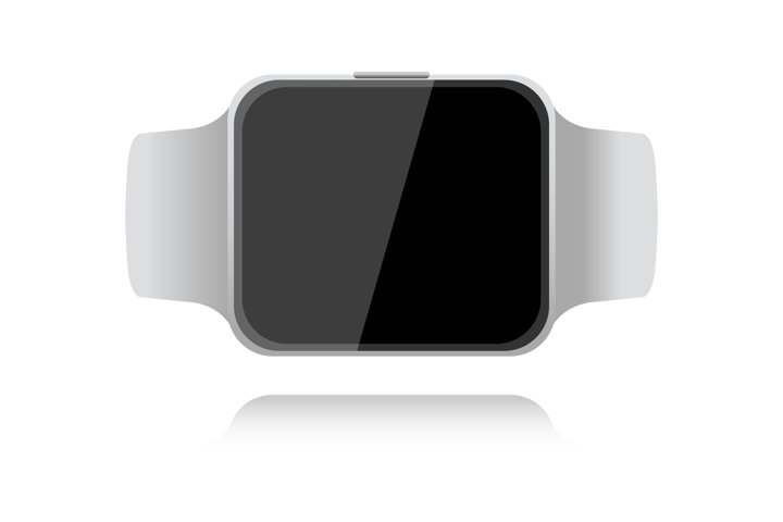 Realistic smart watch gray on white background with shadow.