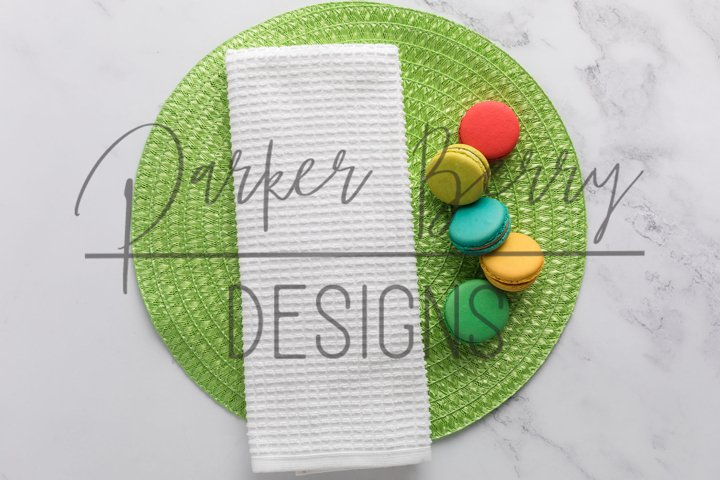 Waffle Weave Mockup Towel on Green with macaroons for svg