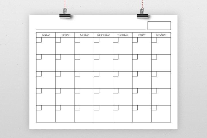 Blank Calendar Page Template Set