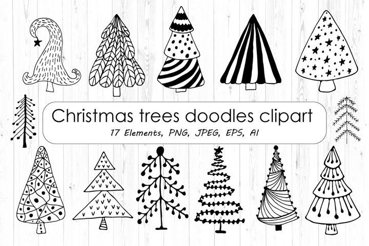 Black And White Christmas Tree Doodles Clipart - PNG, Vector
