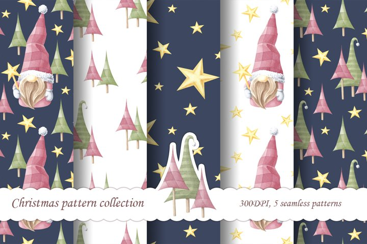Watercolor christmas pattern. New Years set.