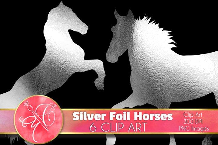Silver Foil Horses Clip Art /Scrapbook, Overlays, Element