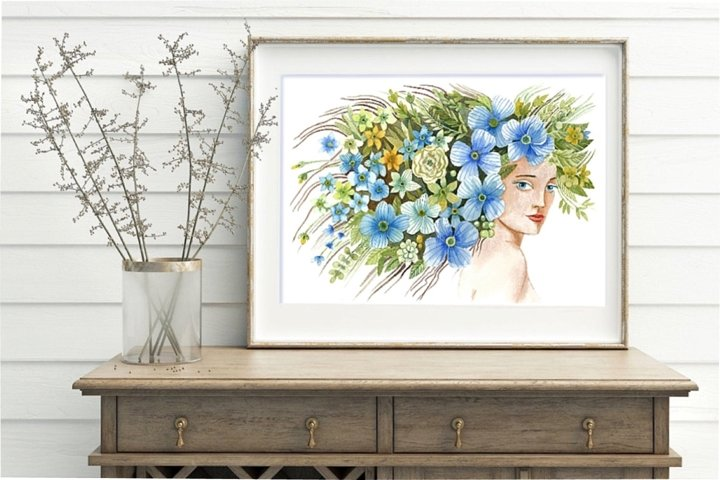 Spring poster, girl with flowers art printable