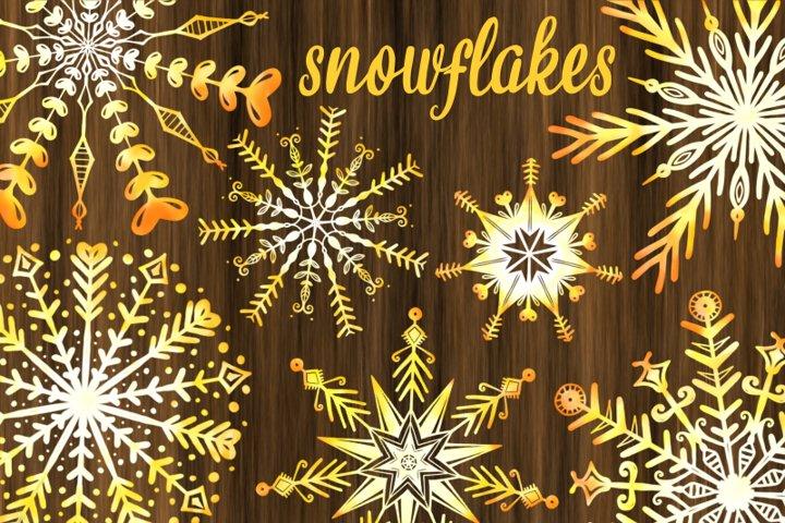Yellow Watercolor Christmas Decorative Snowflakes
