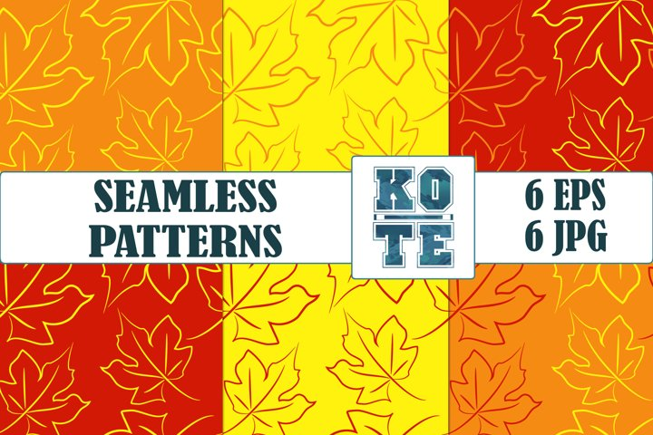6 Bright Autumn Maple Leaves Floral Seamless Pattern