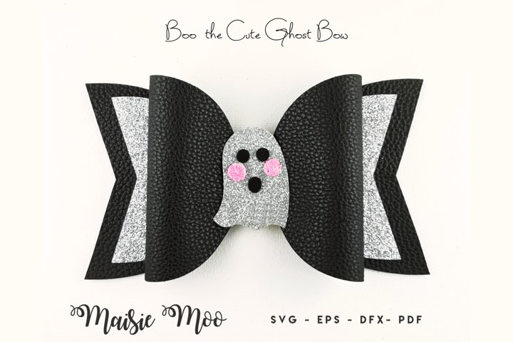 Ghost Bow, Halloween Bow Template SVG, Black Bow SVG