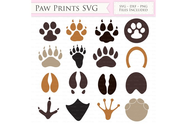 Paw print SVG Files - Animal paw print cut files for Cricut and Silhouette - dog, cat, horse, elephant, bear, deer SVG, dxf, png, jpg files