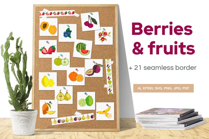 Fruits and berries in Pixel style or cross stitch.