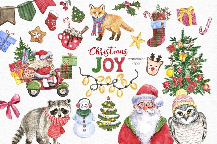 Christmas Clipart Watercolor Santa Car Fox Holiday Tree