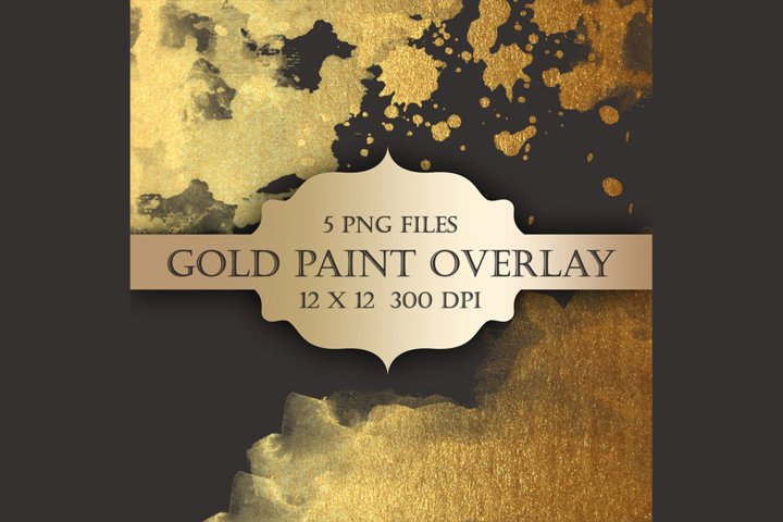 Gold Watercolor Paint Overlays