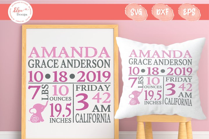 Baby Birth Announcement - Pink Elephant SVG Cut Files