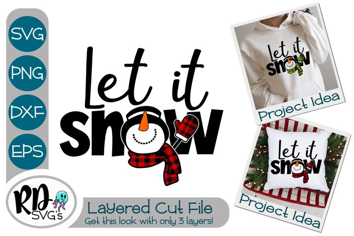 Let it Snow - A Plaid Layered SVG Cricut Cut File