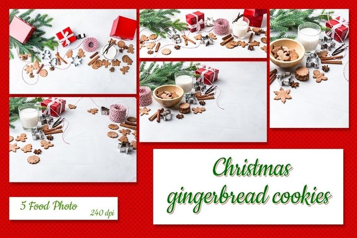A set of 5 food pictures of gingerbread cookies and Christma