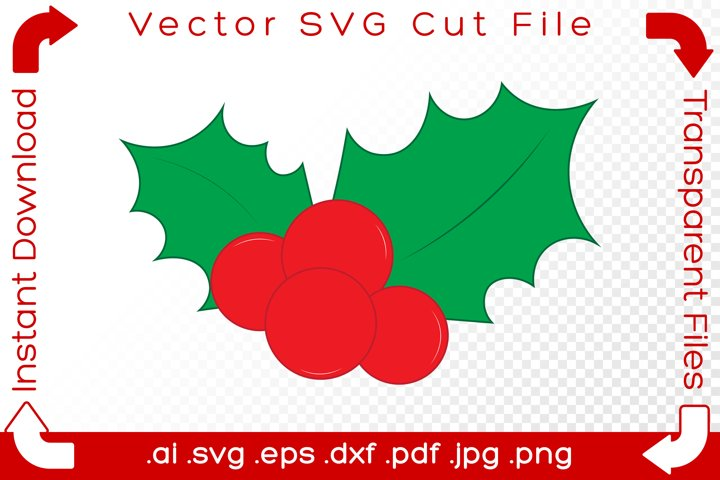 Christmas Holly SVG Red & Green Holiday Decoration Cut File