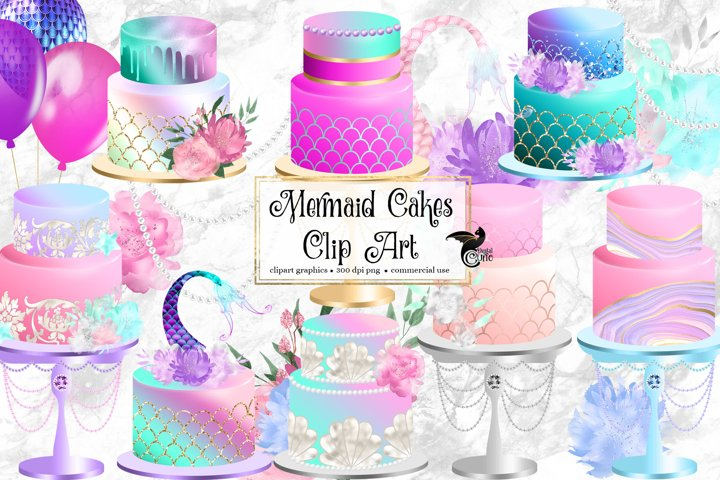 Mermaid Cakes Clipart