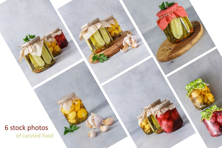 6 stock photos of canned food