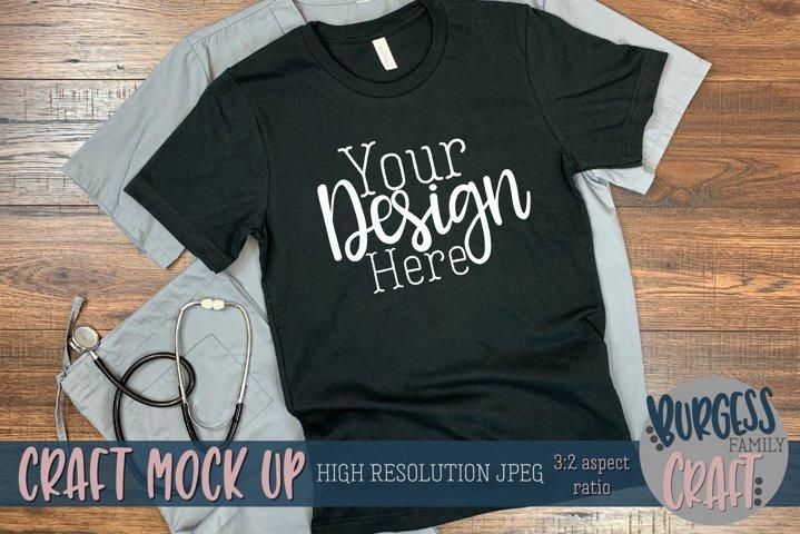 Black t-shirt Doctor/Nurse Craft mock up | High Res JPEG