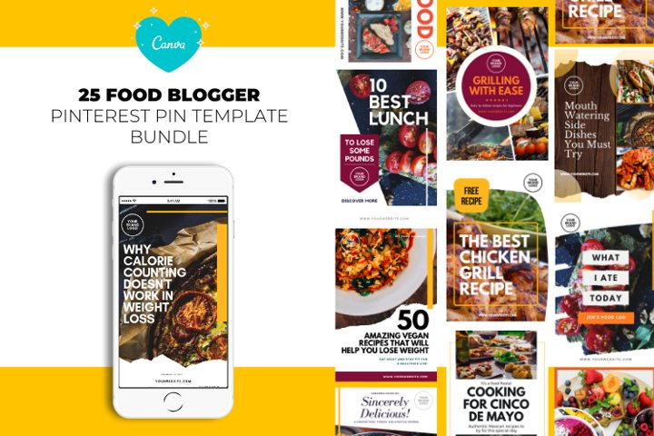 Food Blogger Pinterest Templates for Canva