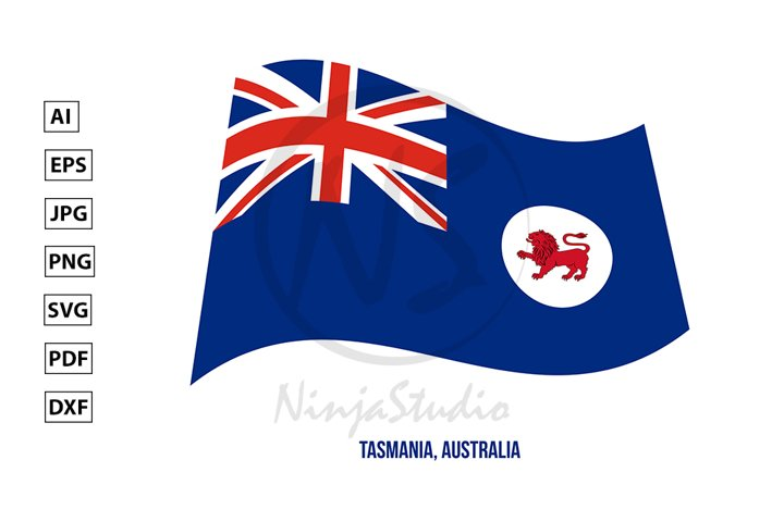 Tasmania Flag Waving. States Flag of Australia
