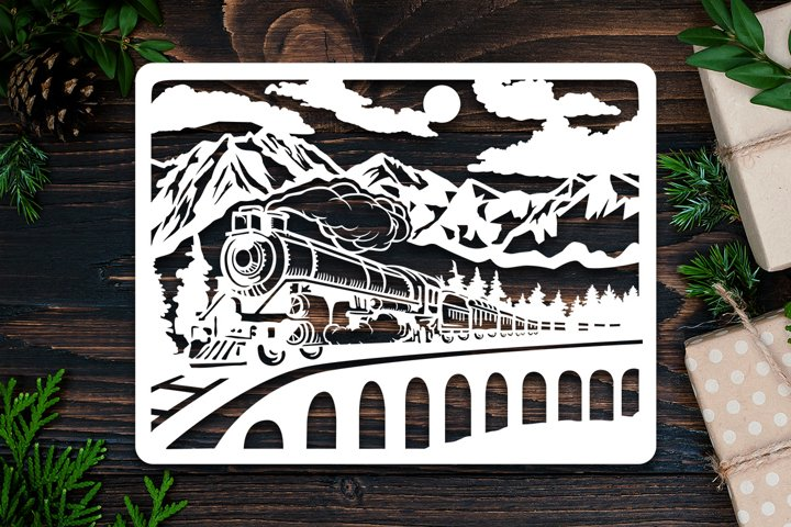 Kirigami Old Train 3D Paper Cut