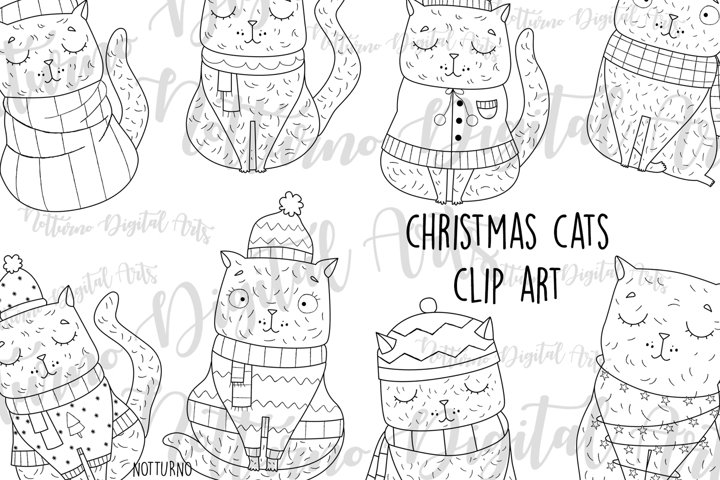 Christmas Cats svg digital stamps