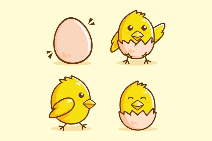 cute Chick hatch cartoon collection