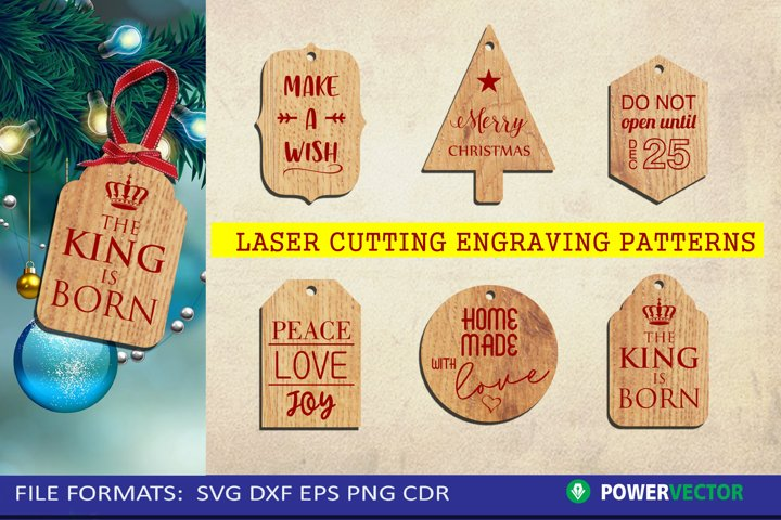 Christmas Gifts Tags, Ornaments Laser Cut File