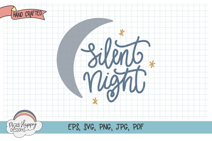 Silent Night- Hand Lettered Christmas SVG