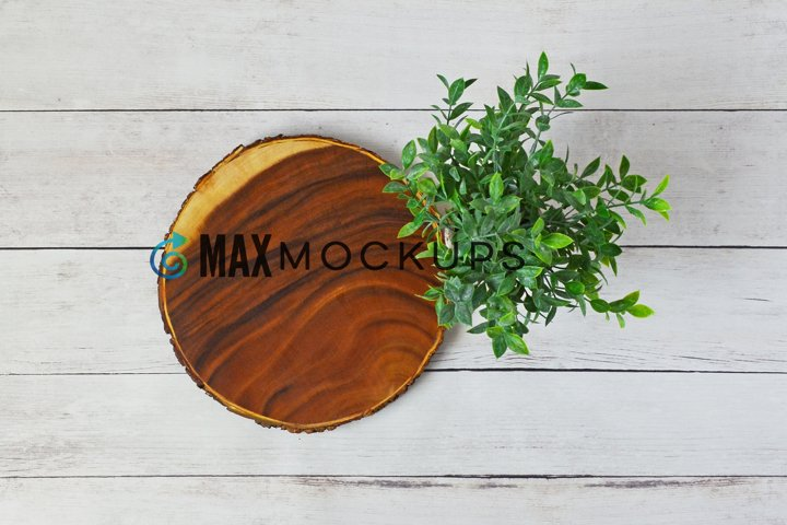 Round Wood sign mockup, rustic flatlay, styled photography