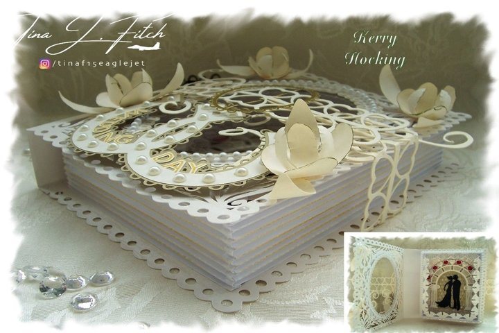 Wedding Folded Faux Book Card Template Cutting Files SVG