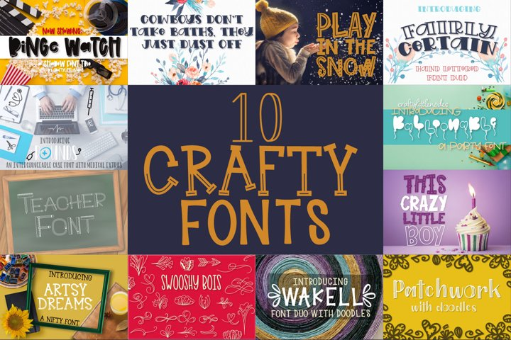 10 Crafty Fonts - A Cut Friendly Font Bundle!
