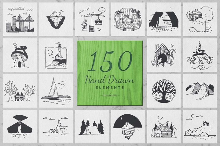 150 Hand Drawn Elements -Landscape-