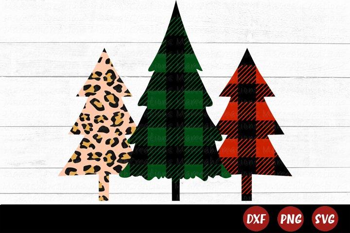 Cheetah Print Christmas Tree SVG   Buffalo Plaid Tree SVG