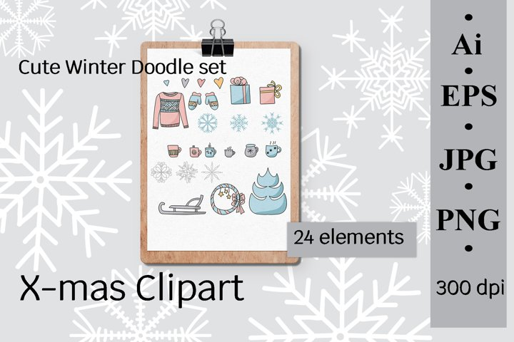 X-mas Clipart, Cute Winter Doodle set, vector illustration