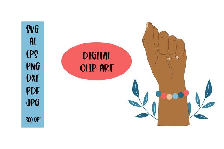Black Power fist afro womans. Clip art