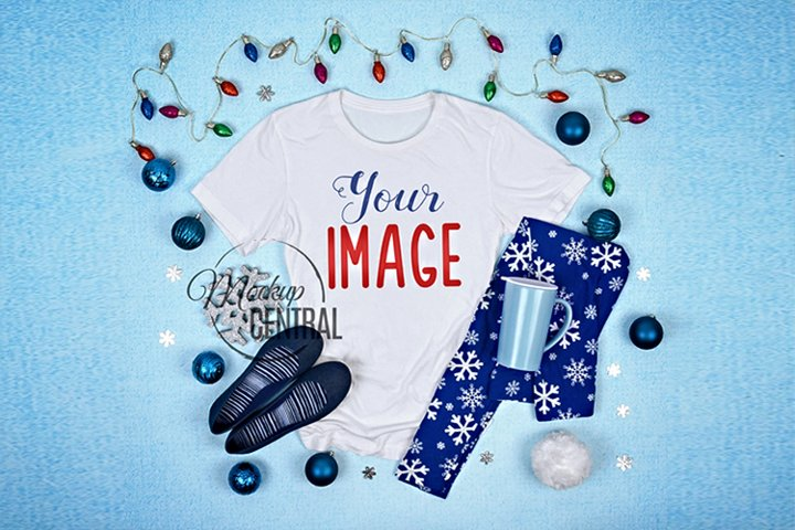 Pretty Womens White T-Shirt Blue Christmas Shirt Mock Up
