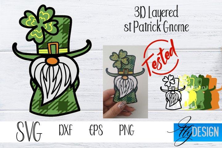 St Patrick Gnome. 3d Gnome SVG. Buffalo 3D Layered Gnome SVG