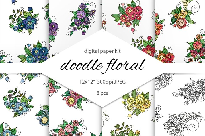 Zentangle inspired floral doodle clipart for scrapbooking