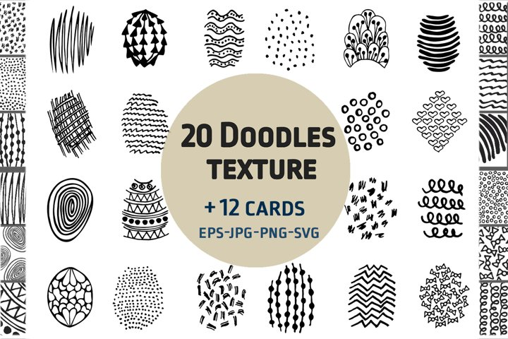 Doodles texture elements 12 cards