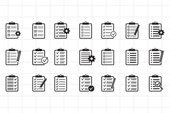Clipboard with checklist, pencil, gear icons set, vector.