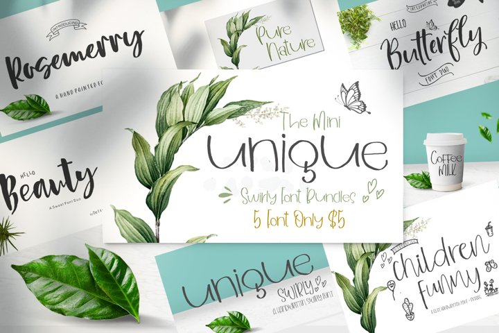 Mini Bundles Swirly Font and Extras