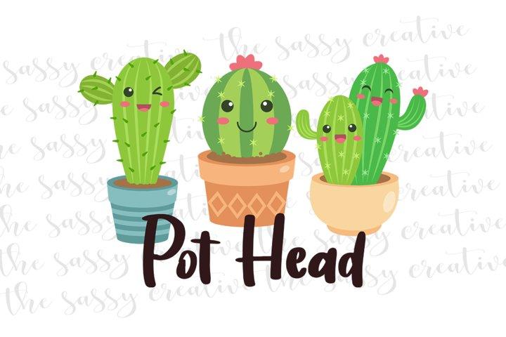 Pot Head Succulent PNG File Sublimation Download