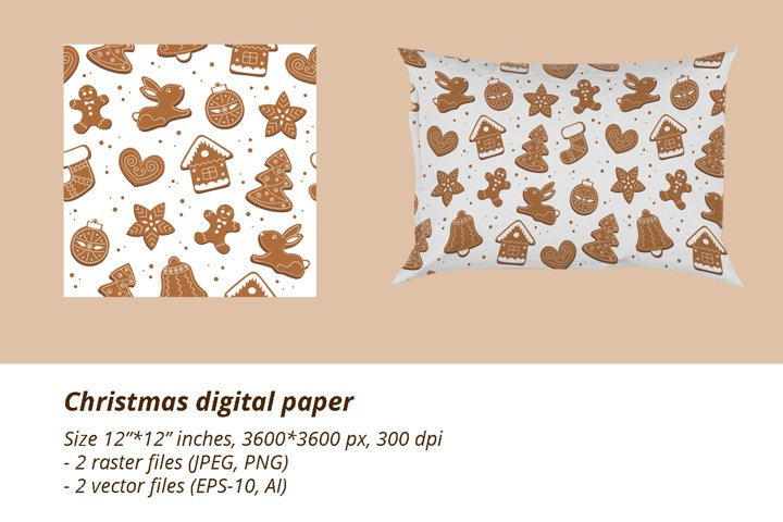 Christmas Seamless Pattern / Gingerbread digital paper
