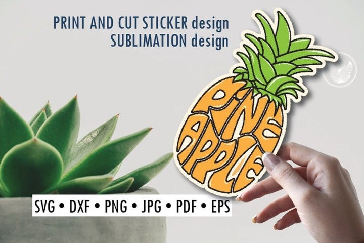 Pineapple Print and cut sticker, Sublimation design