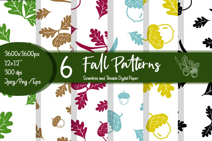 Fall patterns bundle on white background.