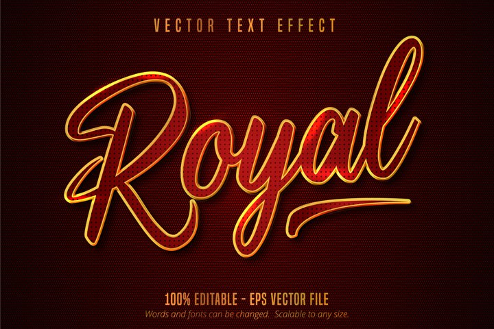 Royal text, shiny golden and red color style text effect