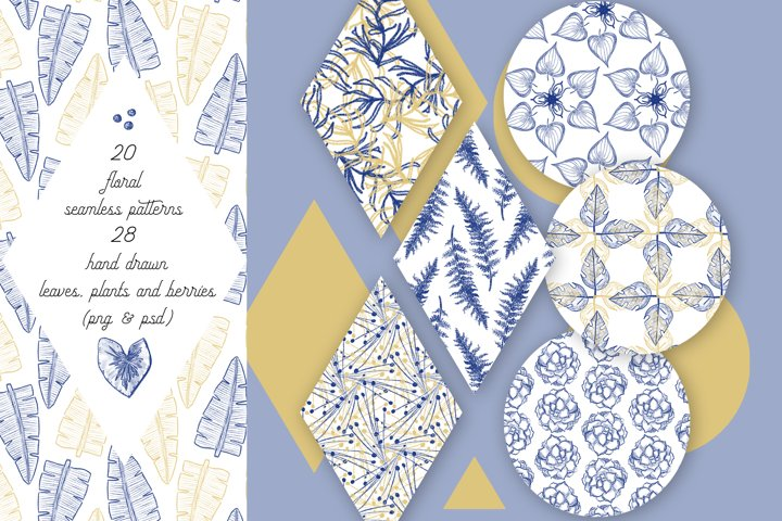 Elegant floral seamless patterns and hand drawn elements