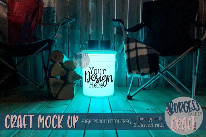Bucket light table teal III | Craft mock up