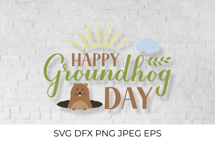 Groundhog Day lettering SVG. Cute cartoon woodchuck