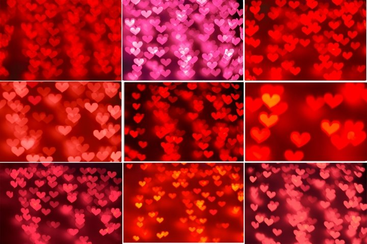 Romantic colorful heart bokeh backgrounds